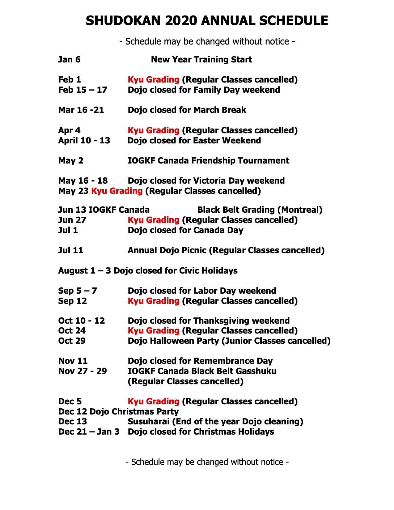shudokan-2020-annual-schedule